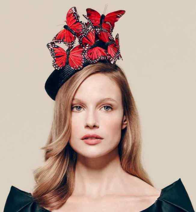 Red Feather Butterfly Hat by Laura Cathcart for Fenwick