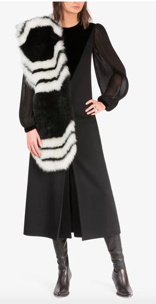 midi dress with pleated sleeve