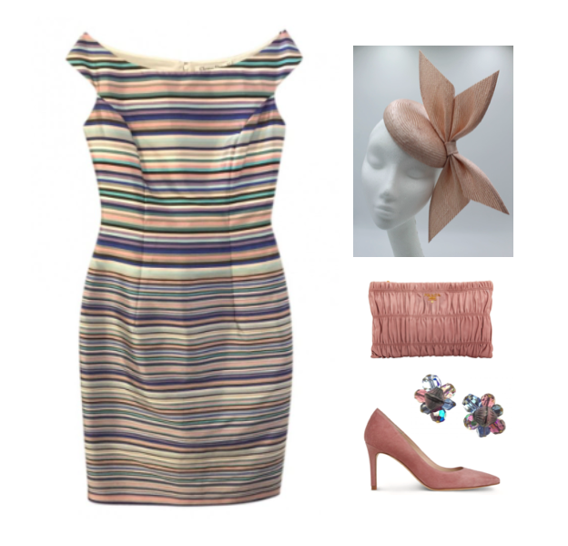 7db497ce This is on of my favourite frocks from my designer clothing charity  re-sale. A multi-coloured striped silk shift dress with elegant  boat-neckline from the ...