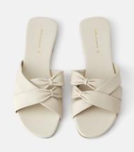 ecru flat sandals