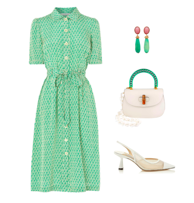 dd0b05f4bb6c Green and white is such a fresh and summery colour combination – this shirt  dress from L.K. Bennett is a great versatile day dress for summer events.